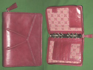 Compact 1 0 Pink Floral Red Full Grain Leather Franklin Covey Planner Binder