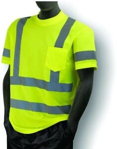 5 Ansi Mens Class 3 Wicking Snag Resistant Safety Pocket T shirt Reflective 5xl