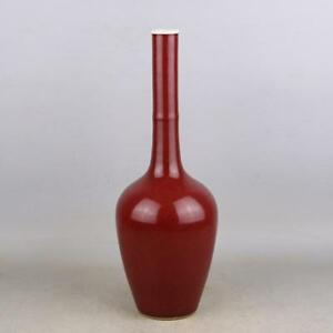 Beautiful Chinese Antique Ox Blood Red Glaze Porcelain Vase With Mark