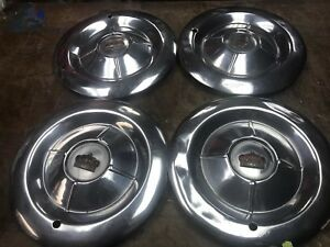 50s Vintage Chrysler Imperial Genuine 15 Hubcaps Set Of 4