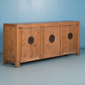 Long Antique Natural Pine Chinese Sideboard