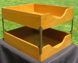 Vtg Antique Wood Wooden Desk File Tray In Out Box Paper Holder Bill Caddy Old