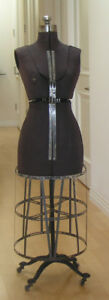 Antique Victorian Dress Form On Ornate Iron Stand Wood Wheels 55 Steampunk