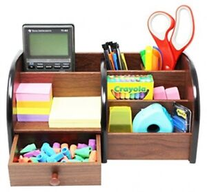 Cherry Brown Office Wooden Desk Organizer With 5 Shelves racks And 1 Drawer For