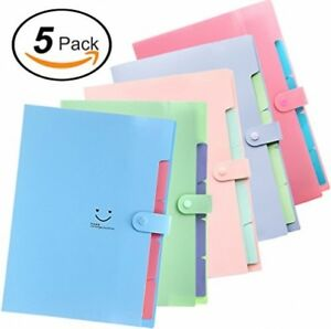 5 Pockets Expanding File Folders Accordion Document And Paperwork Organizer