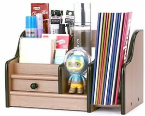 Azdent Desktop Organizer Wooden Desk Storage Caddy With Drawer 4 Compartments 1