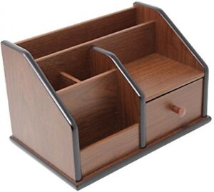 Cherry Brown Office Wooden Desk Organizer With 1 Drawer And Multiple For Office