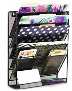 Think Wall Mounted Office Supplies Desk File Makeup Organizer 6 Compartment