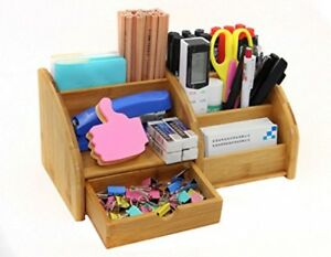 Pag Office Supplies Bamboo Desk Organizer Pen Holder Accessories Storage Caddy
