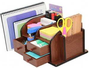 Pag Office Supplies Wood Desk Organizer Pen Mail Holder Accessories Storage 3