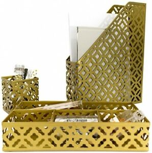 Blu Monaco Gold Desk Organizer For Women 3 Piece Desk Accessories Set Pen