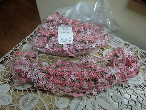 Vintage Passementerie Swiss Made Pink Rosette Floral Or Berry Ribbon Work Trim