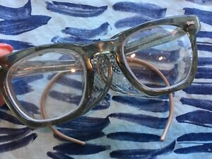 Vtg Safety Goggles Glasses Side Shields Thick Plastic Military Issued 6 1 2 Pi