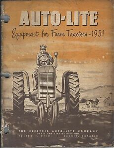 Old Vintage 1951 Manual Book Auto lite Equipment Farm Tractors Parts Info Guide