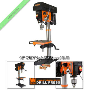 12 Wen Drill Press Benchtop Laser Led Var Speed 5 Amp Bench Top Bevel Table