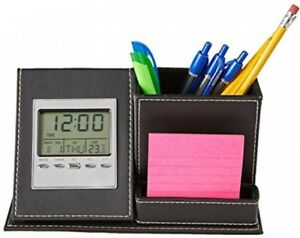 Mind Reader Desk Supplies Organizer With Built In Clock For Pens Pencils And