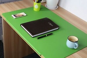Lohome Deskmat_green Desk Pads Artificial Leather Laptop Mat With Fixation Lip