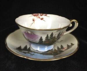 Antique Japanese Porcelain Cup And Saucer Mt Fuji Hand Painted