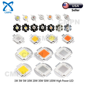 1w 3w 5w 10w 20w 30w 50w 100w Warm White Blue Uv Red High Power Smd Led Chip Usa