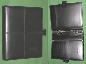 A5 Organizer 1 0 Black Genuine Leather Filofax 6 Ring Planner Cross Binder