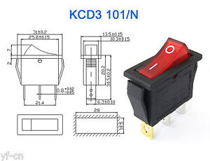 100x Kcd3 Red Button On off 3pin Dpst Boat Car Rocker Switch 15a 20a 250v 125vac