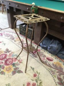 Antique Victorian Aesthetic Plant Stand Hall Table Brass Hollywood Regency Rare