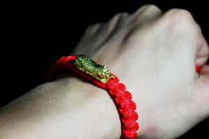 Thai Amulet Lp Pern Tiger Trakud Red Bracelet Muay Thai Mma Protect Lucky