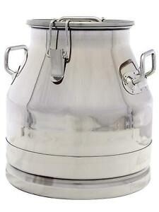 5 Gallon Milk Can Tote Jug Stainless Steel 20 Qt Heavy Duty Sides Strong Lid