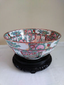 Large Chinese Rose Medallion Porcelain Punch Bowl Diameter 10 X 4 5 High