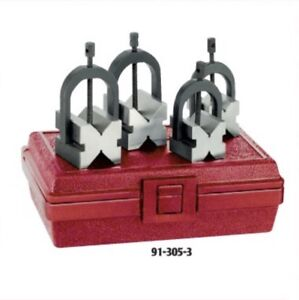 Matched V blocks Set With Clamps In Fitted Case Spi 91 305 3