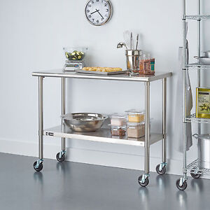 Trinity tls 0201c Ecostorage Stainless Steel Table 48 x24 x35 nsf w Wheels