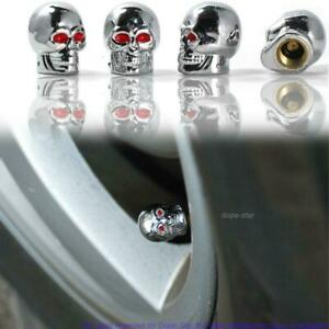4 Chrome Skull Head Valve Stem Caps Motorcycle Car Truck Suv Bike Tire Air Cover