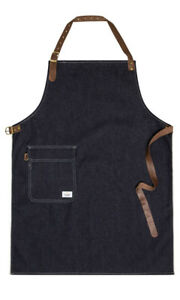 Uskees Chorlton Denim Bib Apron Indigo Chef Barista Adjustable Leather Straps