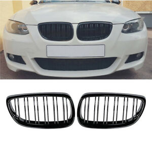 06 09 For Bmw E92 E93 Coupe M3 Gloss Black Front Kidney Twin Fins Grill Grille