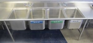 Advance Tabco 4 Compartment Commercial Stainless Steel Sink