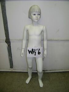 Chalk White Fiberglass Child Mannequin With Base Wk 6