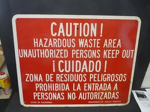 Vintage Sign Hazardous Waste Large