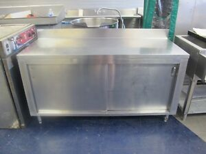 Stainless Steel Work Table W Sliding Under Shelf Doors 64 Long