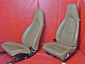 Porsche 997 911 987 Boxster Brown Leather Power Seat Set