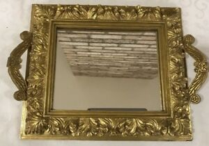 Vintage Ornate Gold Mirror With Handle Dresser Top Vanity Mirror 15x11