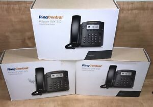 Lot Of 3 Ringcentral Polycom Vvx310 Gigabit Desk Phone Lot 3 Office Phones