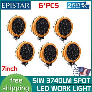 6x 51w 7inch Yellow Offroad Led Work Light Atv Ford Reverse Fog Pods Round Slim