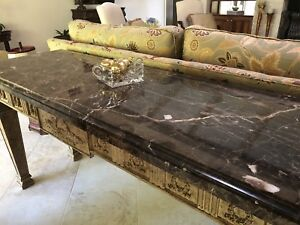 Vintage Marble Top Table Console Hall Sofa Kitchen Island Foyer Buffet