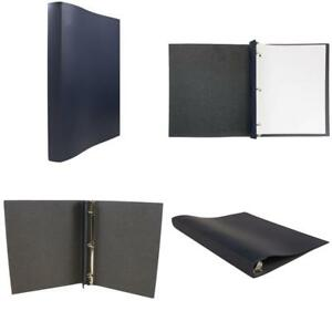 Jam Paper Italian Leather 3 Ring Binder 3 4 Width Navy Blue Sold Individually