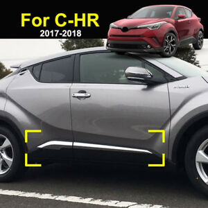 Chrome Door Side Body Molding Trim Cover Protector For Toyota C hr Chr 2017 2019