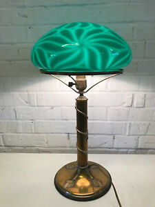 Antique Brass Glass Table Desk Lamp Green Cased Glass Floral Decoration
