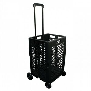 Folding Utility Cart Rolling Wheels Organizer Storage Black Plastic Mesh Basket