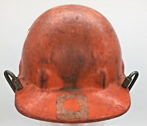 Orange Fibre Metal Fiberglass Hard Hat With Dial Suspension And Sticker Clips