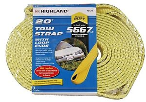 Highland 10178 20 Foot Tow Strap With Loop Ends