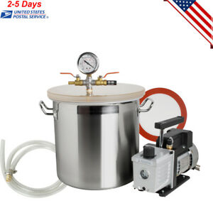 5 Gallon Stainless Steel Vacuum Degassing Chamber Kit W 3 Cfm Pump Hose Lid Set
